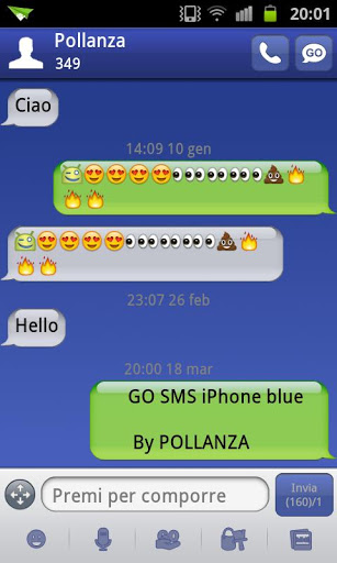 go sms theme iphone blue android informer an iphone style go sms pro theme with a beautiful. Black Bedroom Furniture Sets. Home Design Ideas